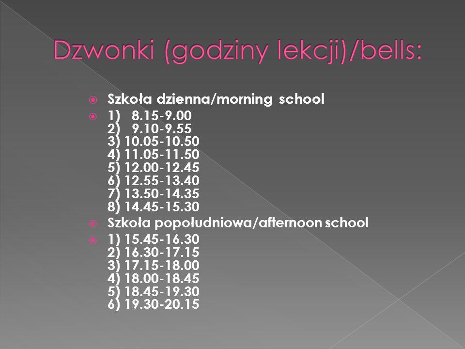 Dzwonki (godziny lekcji)/bells:
