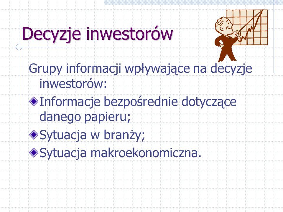 Decyzje inwestorów Grupy informacji wpływające na decyzje inwestorów: