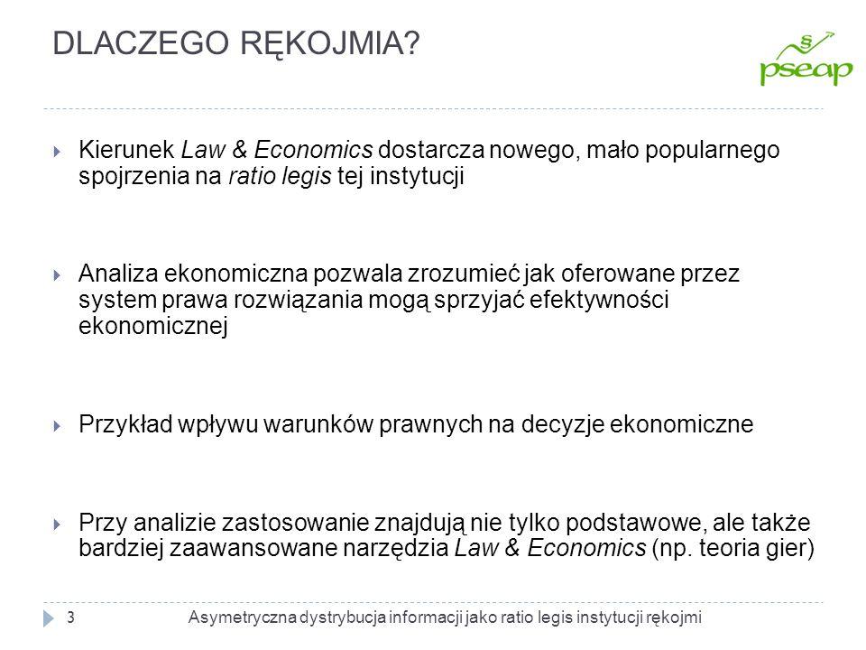 DLACZEGO RĘKOJMIA Kierunek Law & Economics dostarcza nowego, mało popularnego spojrzenia na ratio legis tej instytucji.