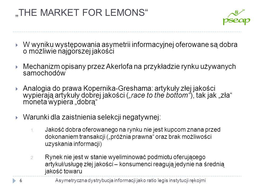 """""""THE MARKET FOR LEMONS"""