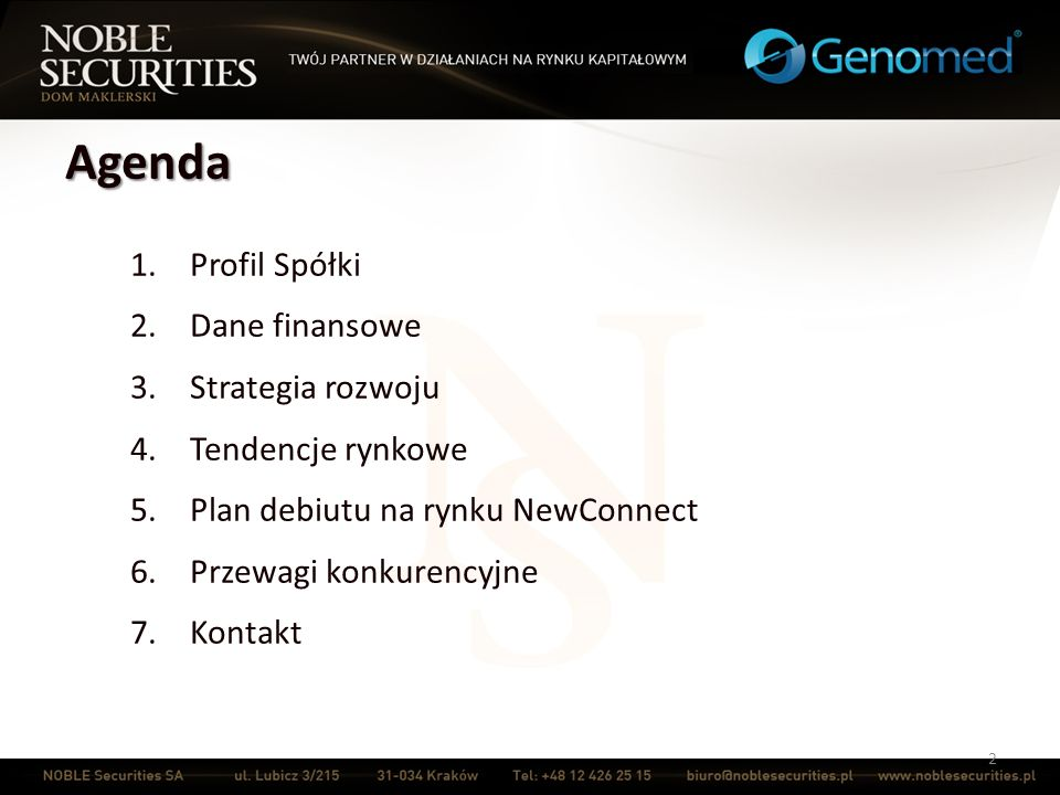 Agenda Profil Spółki Dane finansowe Strategia rozwoju