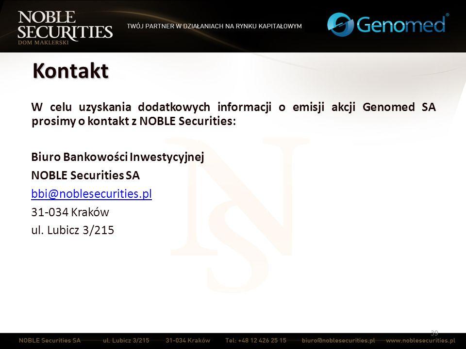 Kontakt W celu uzyskania dodatkowych informacji o emisji akcji Genomed SA prosimy o kontakt z NOBLE Securities: