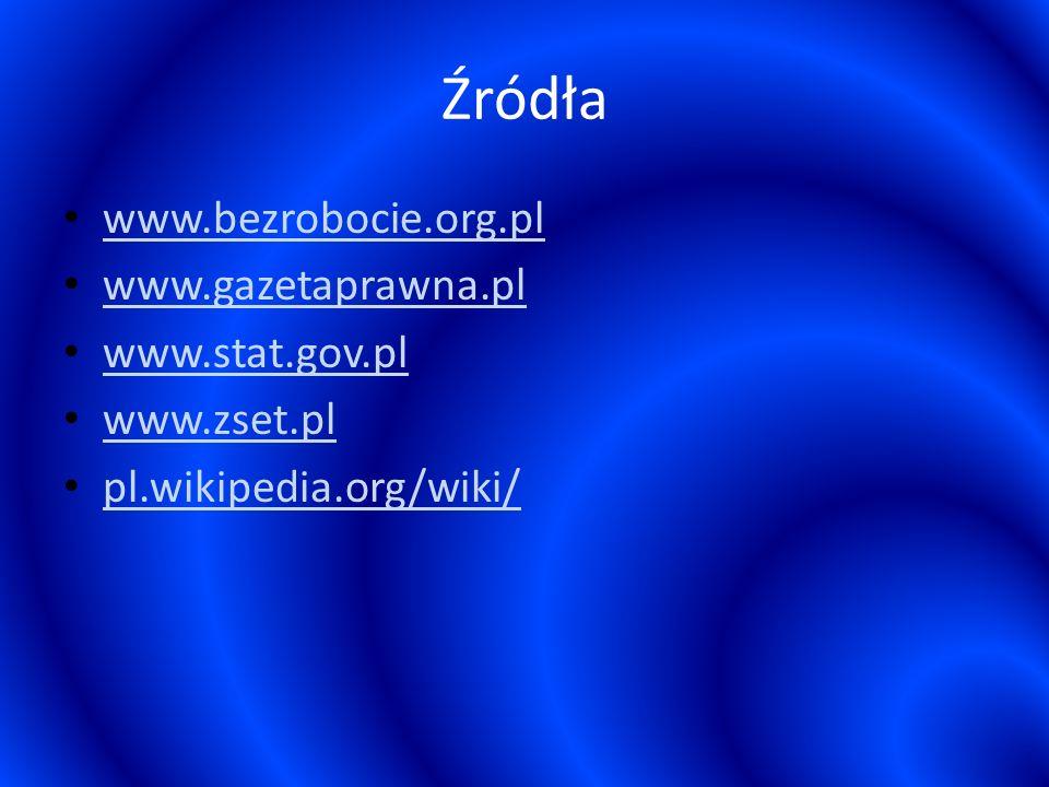 Źródła www.bezrobocie.org.pl www.gazetaprawna.pl www.stat.gov.pl