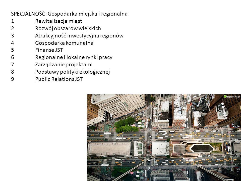 SPECJALNOŚĆ: Gospodarka miejska i regionalna