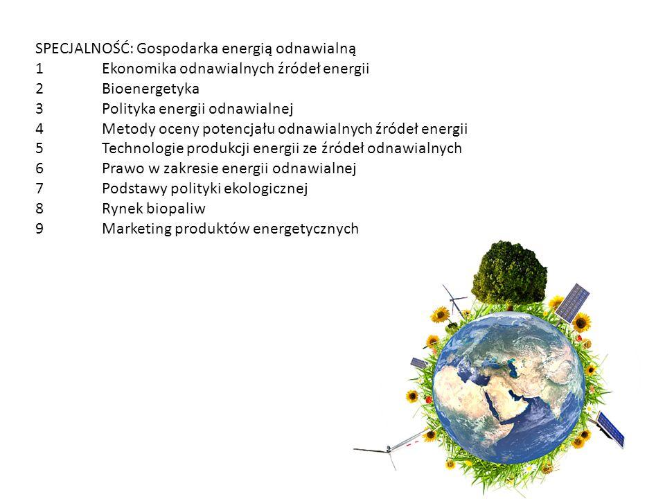 SPECJALNOŚĆ: Gospodarka energią odnawialną