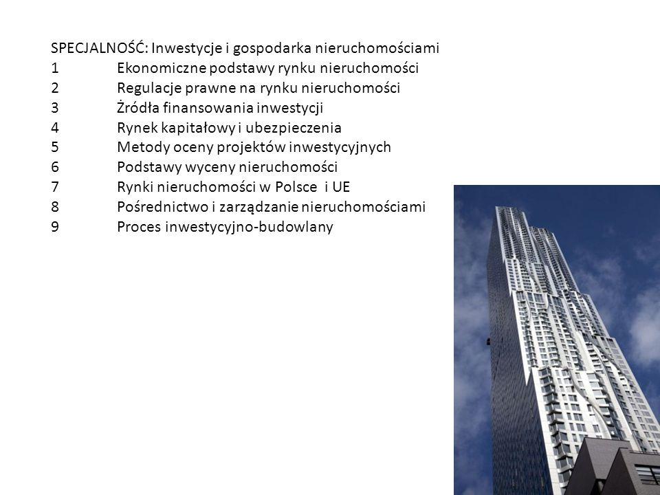 SPECJALNOŚĆ: Inwestycje i gospodarka nieruchomościami