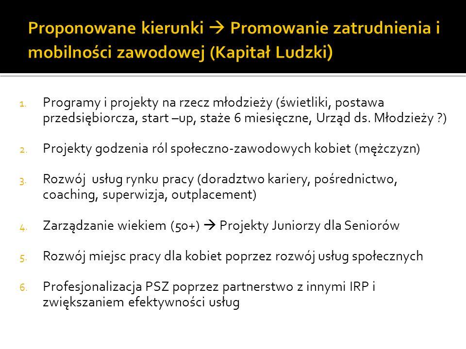 Proponowane kierunki  Promowanie zatrudnienia i mobilności zawodowej (Kapitał Ludzki)