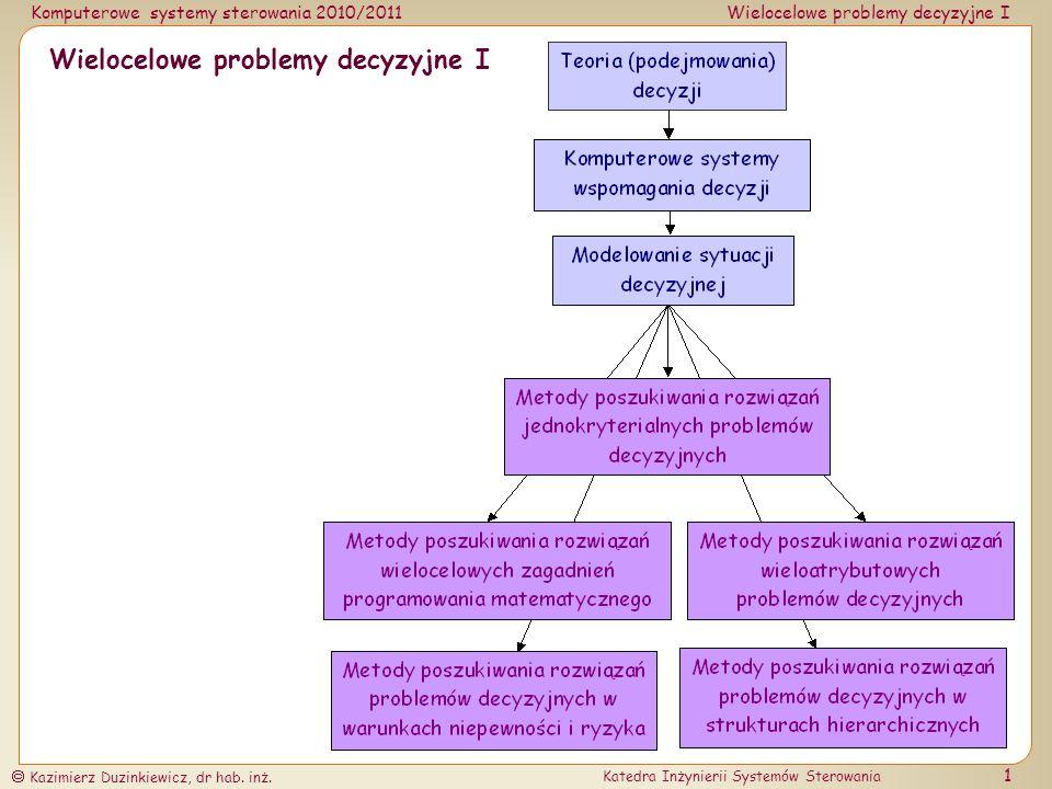 Wielocelowe problemy decyzyjne I