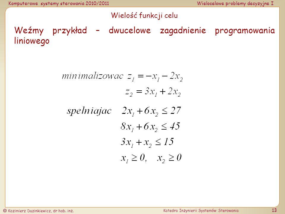 Weźmy przykład – dwucelowe zagadnienie programowania liniowego