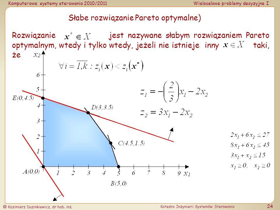 Słabe rozwiązanie Pareto optymalne)