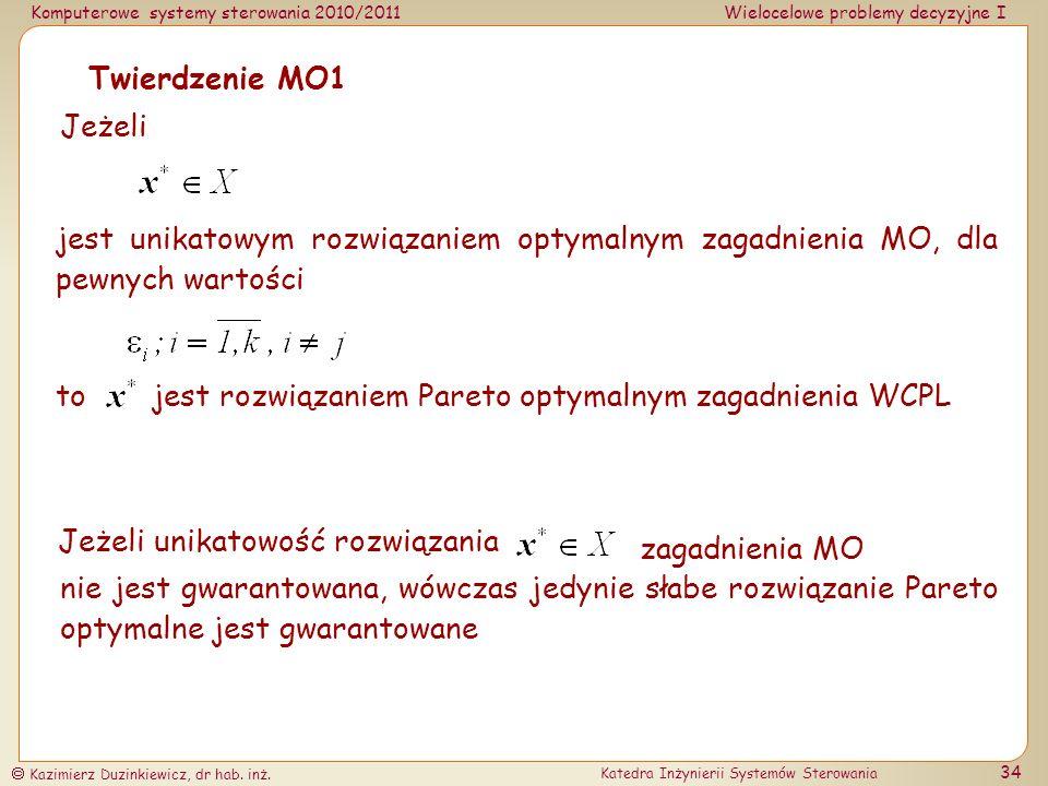 Twierdzenie MO1 Jeżeli. jest unikatowym rozwiązaniem optymalnym zagadnienia MO, dla pewnych wartości.