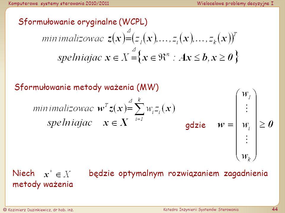 Sformułowanie oryginalne (WCPL)