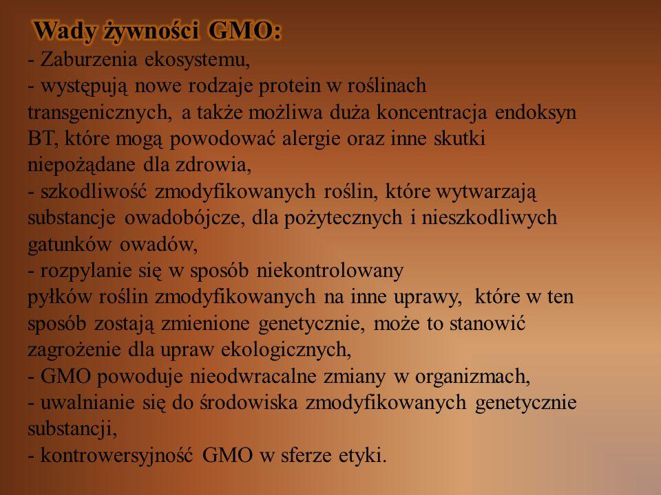 Wady żywności GMO: