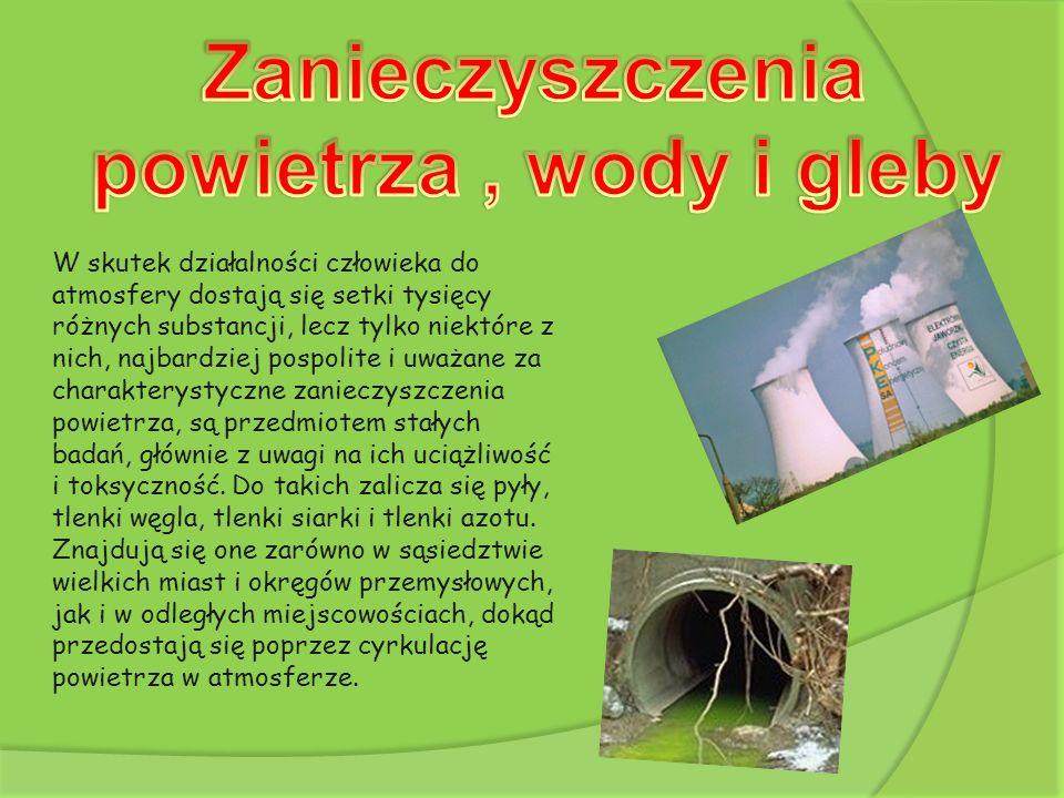 Zanieczyszczenia powietrza , wody i gleby