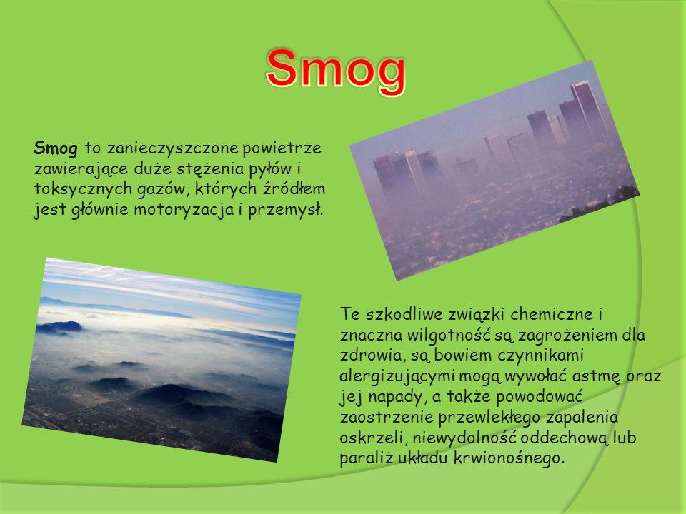 Smog Smog to zanieczyszczone powietrze zawierające duże stężenia pyłów i toksycznych gazów, których źródłem jest głównie motoryzacja i przemysł.