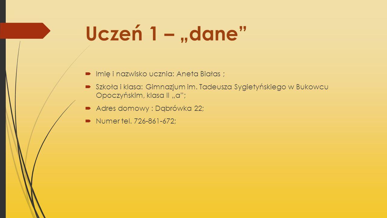"""Uczeń 1 – """"dane Imię i nazwisko ucznia: Aneta Białas ;"""