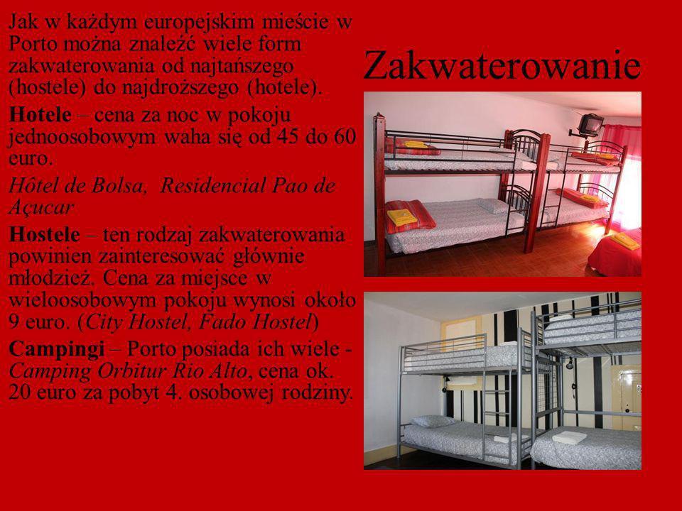 Jak w każdym europejskim mieście w Porto można znaleźć wiele form zakwaterowania od najtańszego (hostele) do najdroższego (hotele). Hotele – cena za noc w pokoju jednoosobowym waha się od 45 do 60 euro. Hôtel de Bolsa, Residencial Pao de Açucar Hostele – ten rodzaj zakwaterowania powinien zainteresować głównie młodzież. Cena za miejsce w wieloosobowym pokoju wynosi około 9 euro. (City Hostel, Fado Hostel) Campingi – Porto posiada ich wiele - Camping Orbitur Rio Alto, cena ok. 20 euro za pobyt 4. osobowej rodziny.
