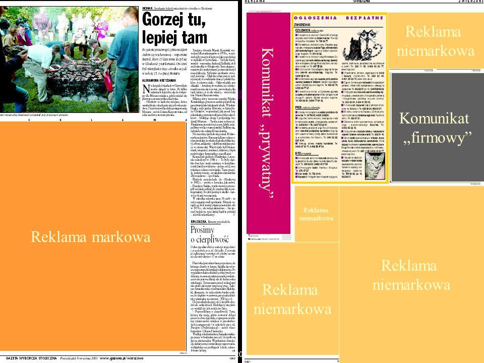 "Reklama niemarkowa Komunikat ""prywatny Komunikat ""firmowy"