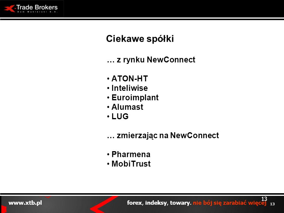 Ciekawe spółki … z rynku NewConnect ATON-HT Inteliwise Euroimplant