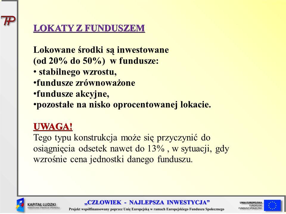LOKATY Z FUNDUSZEM Lokowane środki są inwestowane (od 20% do 50%) w fundusze: stabilnego wzrostu,
