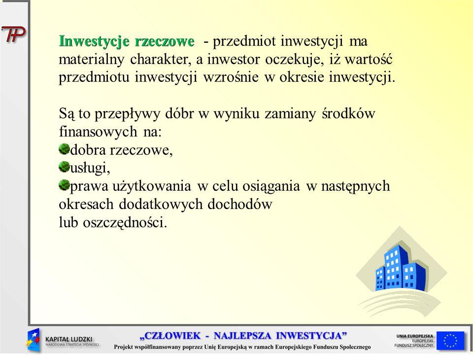 Inwestycje rzeczowe - przedmiot inwestycji ma materialny charakter, a inwestor oczekuje, iż wartość przedmiotu inwestycji wzrośnie w okresie inwestycji.