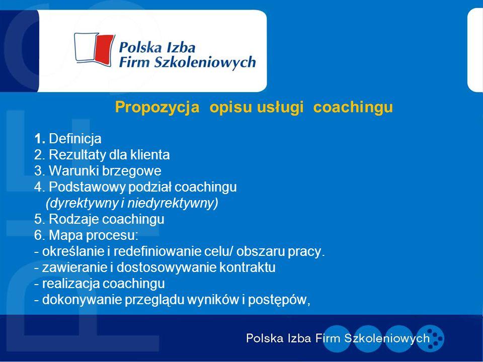 Propozycja opisu usługi coachingu 1. Definicja 2