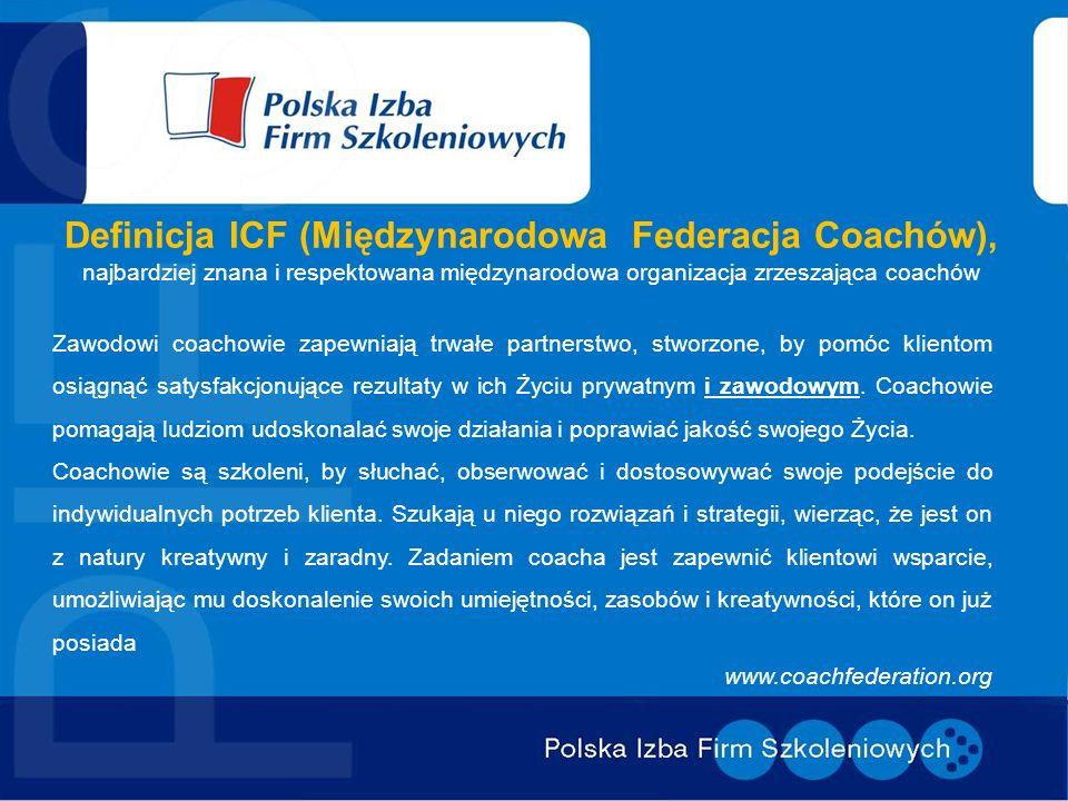 Definicja ICF (Międzynarodowa Federacja Coachów), najbardziej znana i respektowana międzynarodowa organizacja zrzeszająca coachów