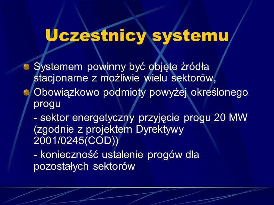 Uczestnicy systemu Systemem powinny być objęte źródła stacjonarne z możliwie wielu sektorów, Obowiązkowo podmioty powyżej określonego progu.
