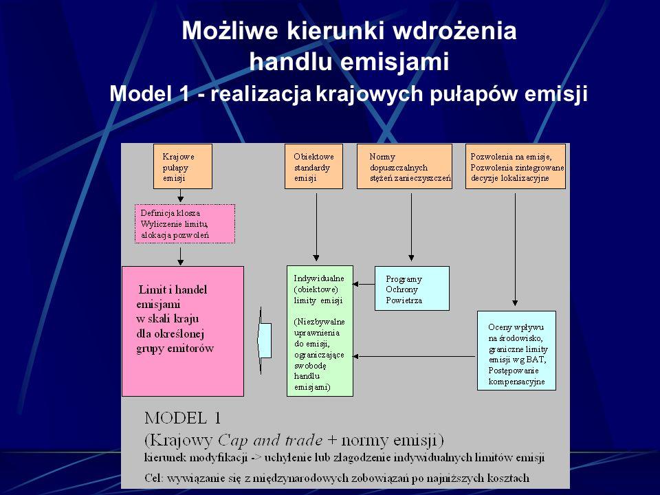 Możliwe kierunki wdrożenia handlu emisjami Model 1 - realizacja krajowych pułapów emisji