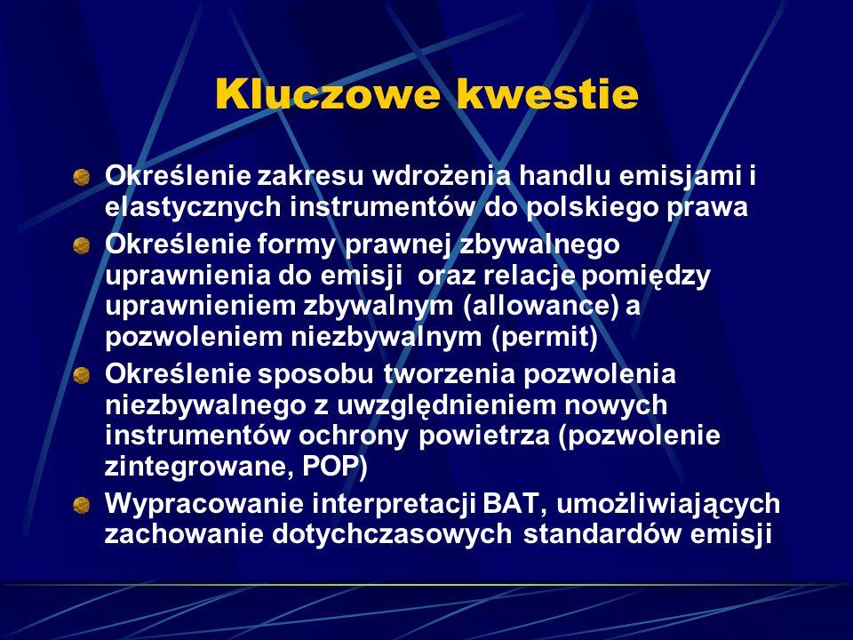 Kluczowe kwestie Określenie zakresu wdrożenia handlu emisjami i elastycznych instrumentów do polskiego prawa.