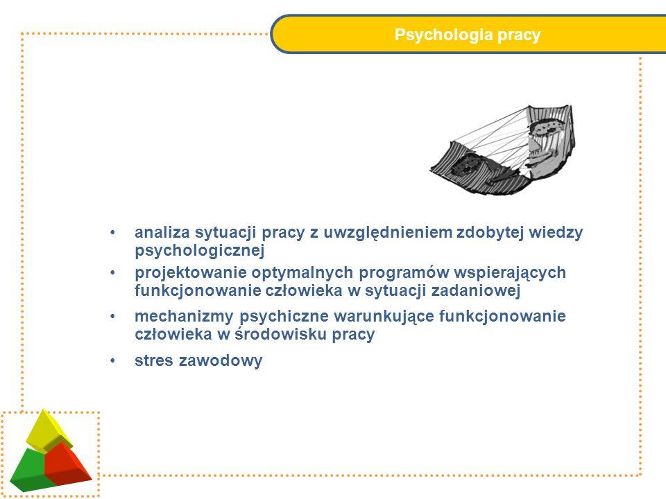 Psychologia pracy analiza sytuacji pracy z uwzględnieniem zdobytej wiedzy psychologicznej.