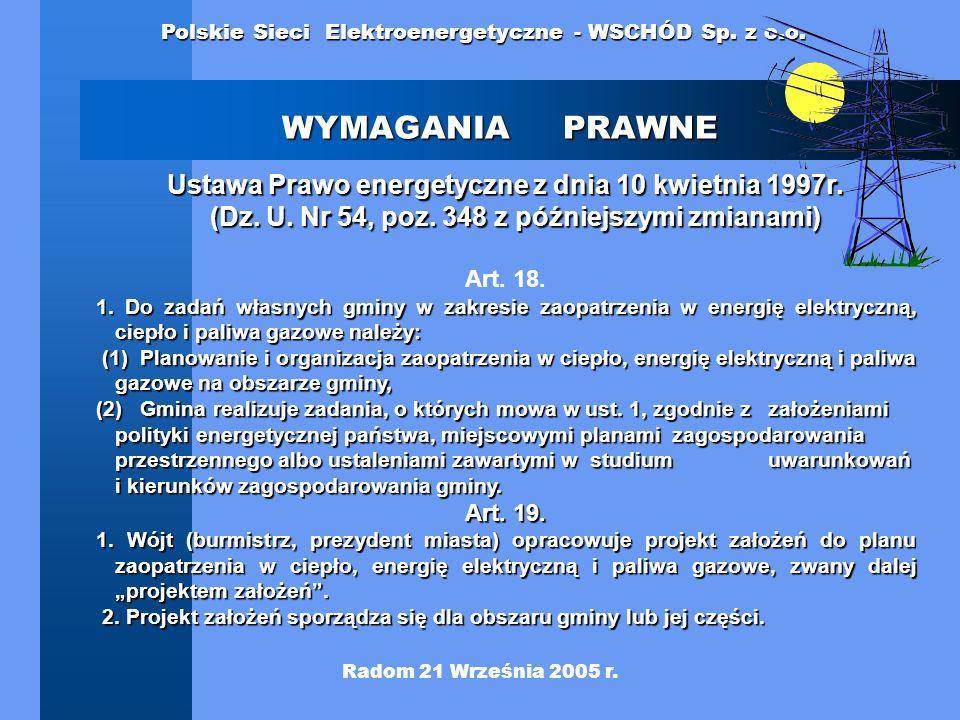 WYMAGANIA PRAWNE Ustawa Prawo energetyczne z dnia 10 kwietnia 1997r. (Dz. U. Nr 54, poz. 348 z późniejszymi zmianami)