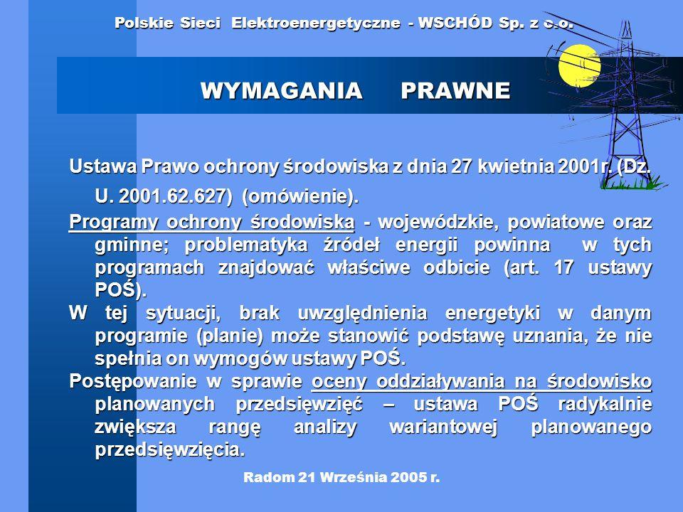 WYMAGANIA PRAWNE Ustawa Prawo ochrony środowiska z dnia 27 kwietnia 2001r. (Dz. U. 2001.62.627) (omówienie).