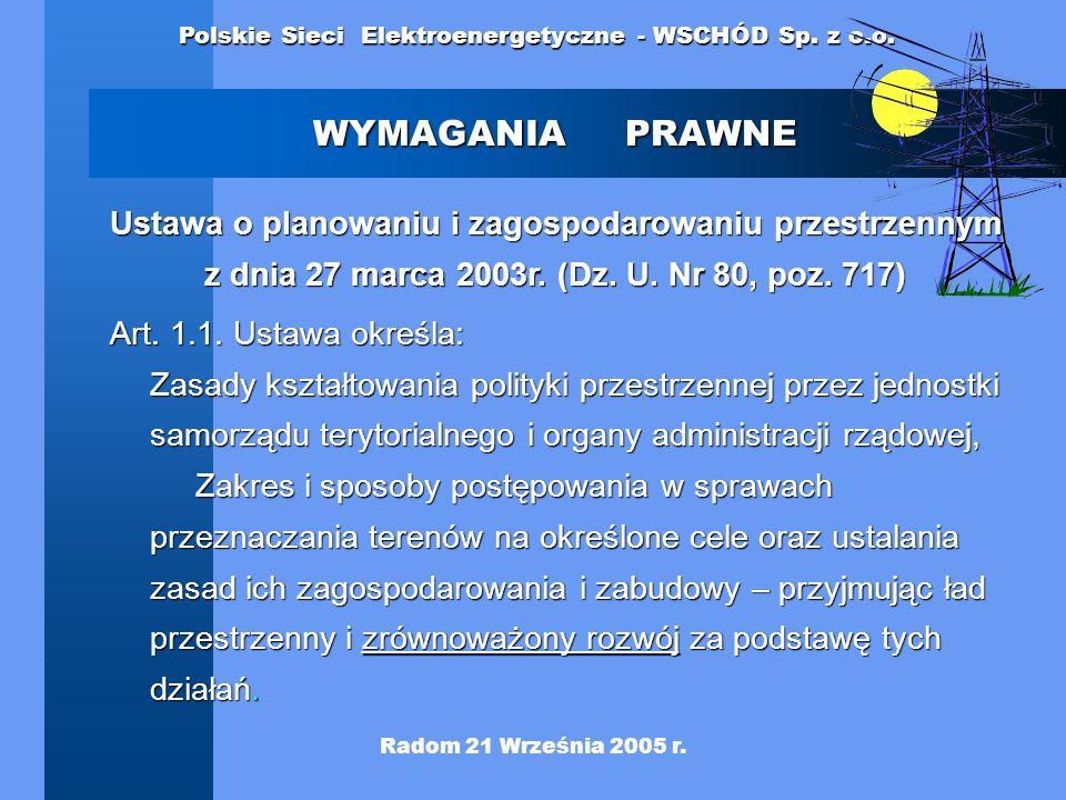 WYMAGANIA PRAWNE Ustawa o planowaniu i zagospodarowaniu przestrzennym z dnia 27 marca 2003r. (Dz. U. Nr 80, poz. 717)