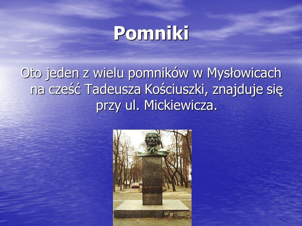 Pomniki Oto jeden z wielu pomników w Mysłowicach na cześć Tadeusza Kościuszki, znajduje się przy ul.