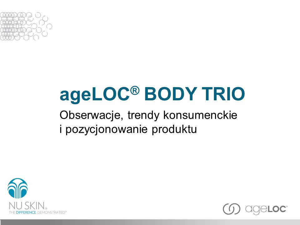 ageLOC® BODY TRIO Obserwacje, trendy konsumenckie i pozycjonowanie produktu Slajd tytułowy