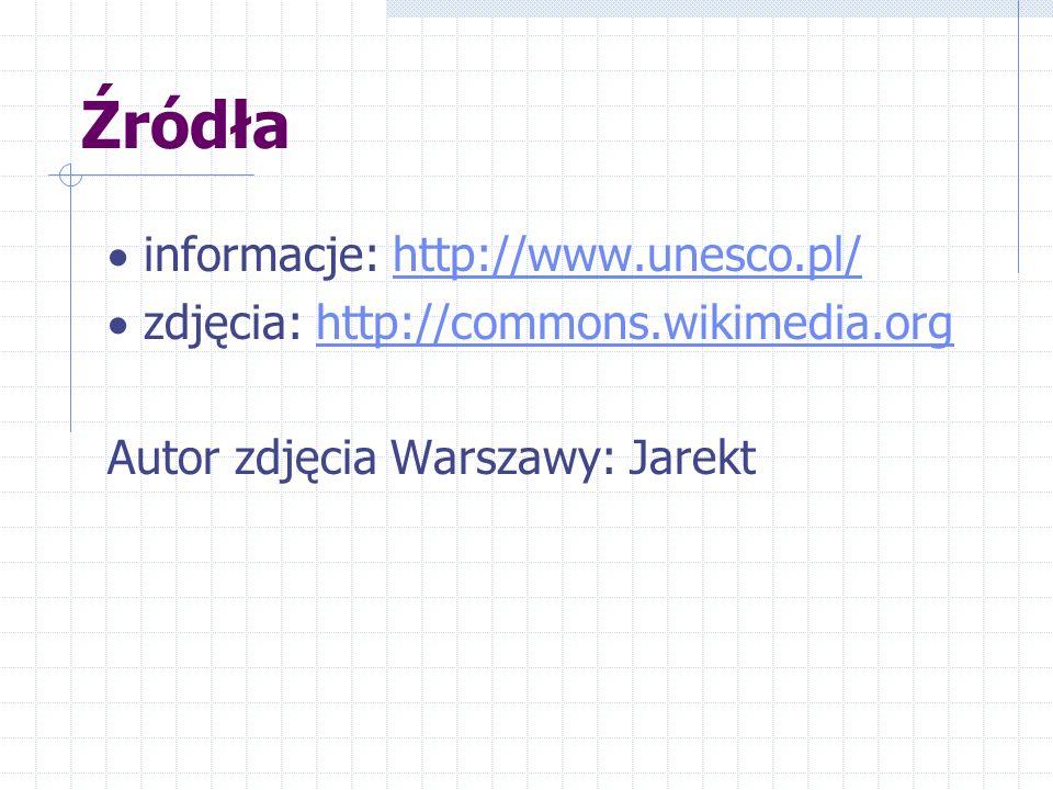 Źródła · informacje: http://www.unesco.pl/