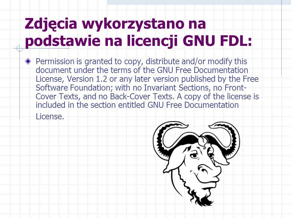Zdjęcia wykorzystano na podstawie na licencji GNU FDL: