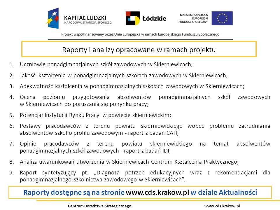 Raporty dostępne są na stronie www.cds.krakow.pl w dziale Aktualności