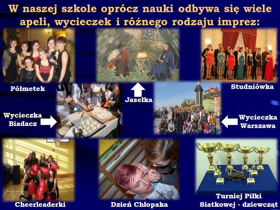 W naszej szkole oprócz nauki odbywa się wiele apeli, wycieczek i różnego rodzaju imprez: