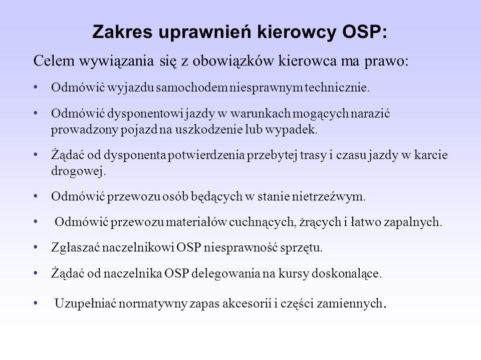 Zakres uprawnień kierowcy OSP: