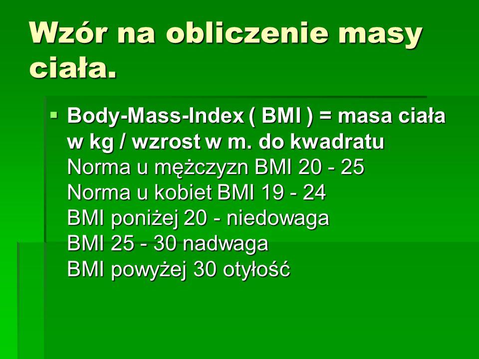 Wzór na obliczenie masy ciała.