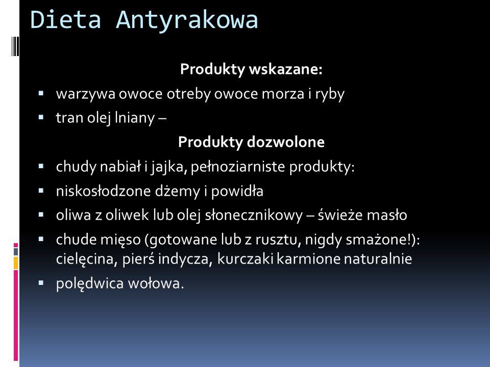 Dieta Antyrakowa Produkty wskazane: