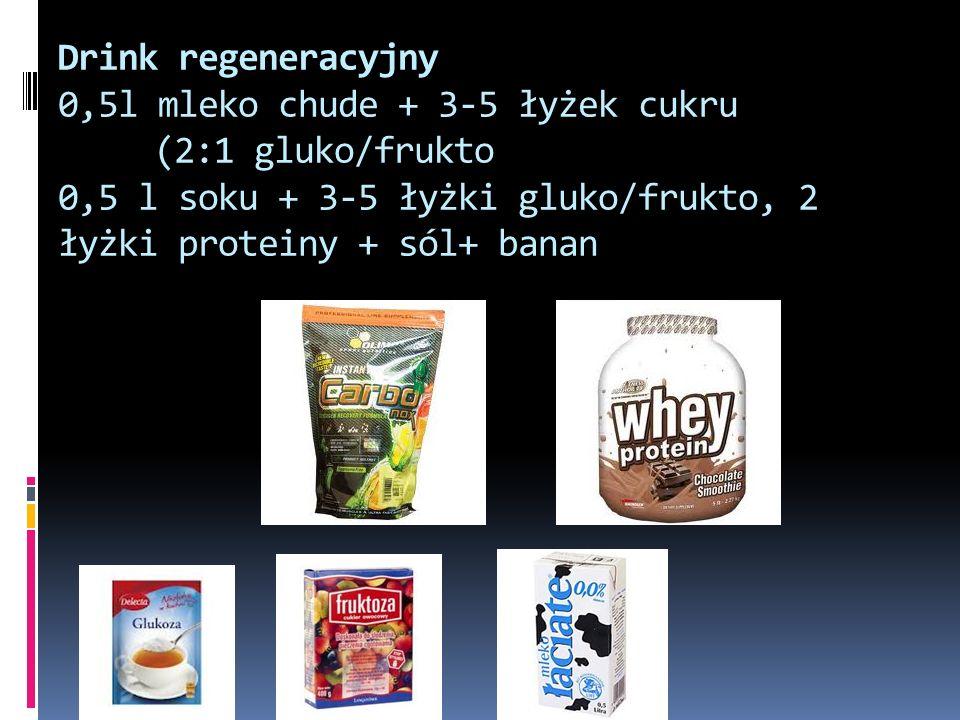 Drink regeneracyjny 0,5l mleko chude + 3-5 łyżek cukru