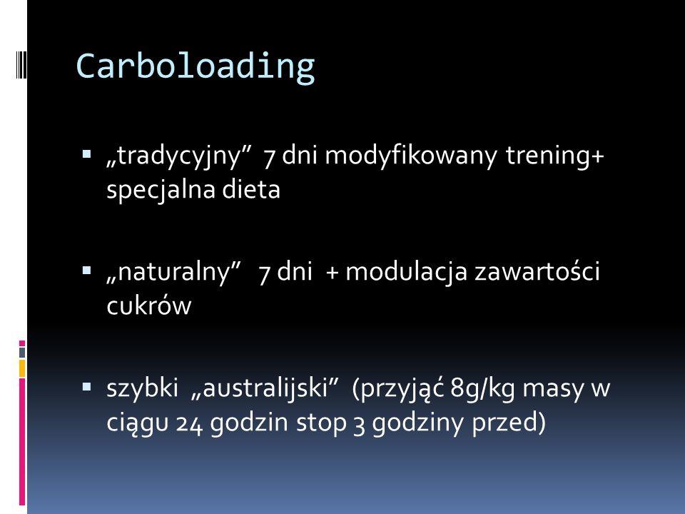 """Carboloading """"tradycyjny 7 dni modyfikowany trening+ specjalna dieta"""