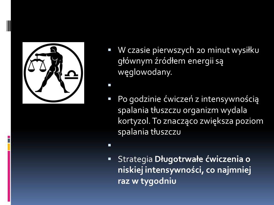 W czasie pierwszych 20 minut wysiłku głównym źródłem energii są węglowodany.
