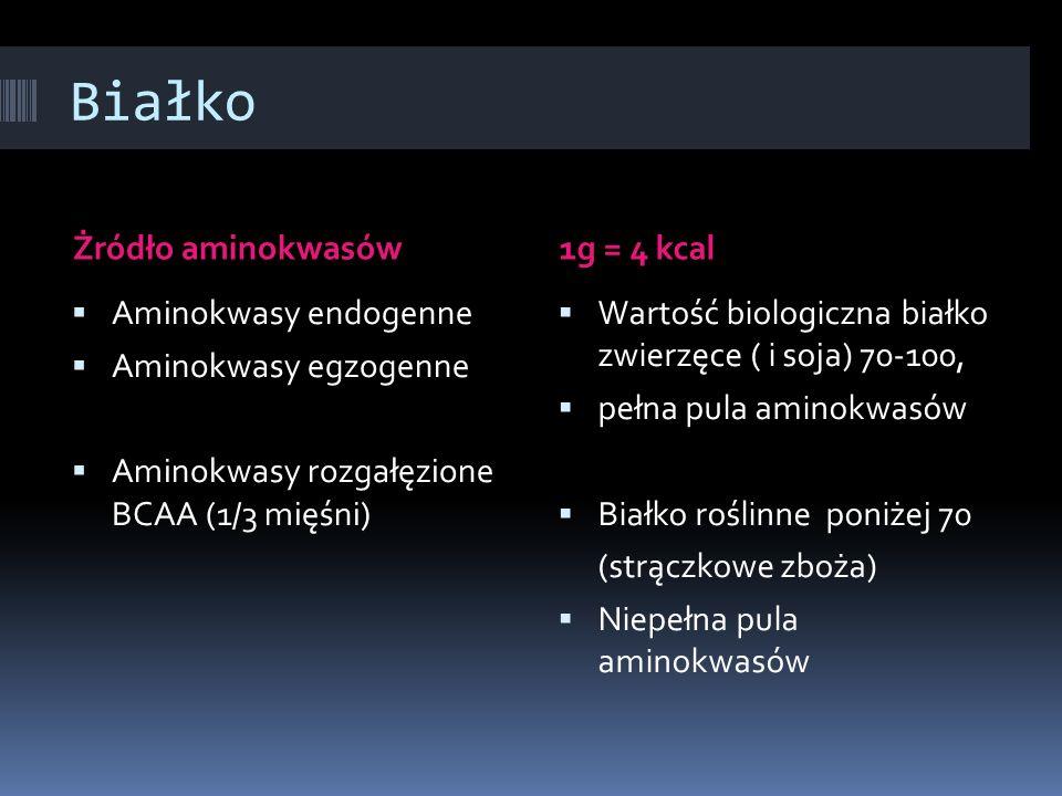 Białko Żródło aminokwasów 1g = 4 kcal Aminokwasy endogenne