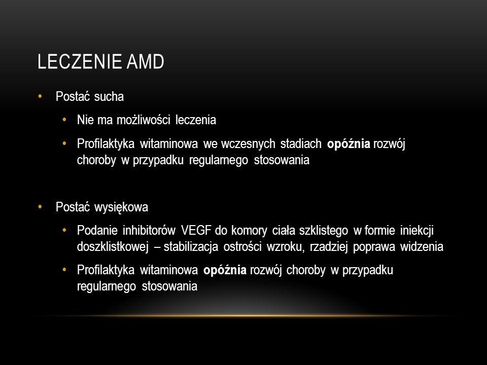 LECZENIE AMD Postać sucha Nie ma możliwości leczenia
