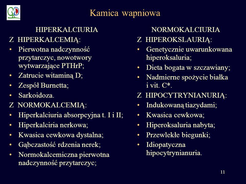 Kamica wapniowa HIPERKALCIURIA Z HIPERKALCEMIĄ: