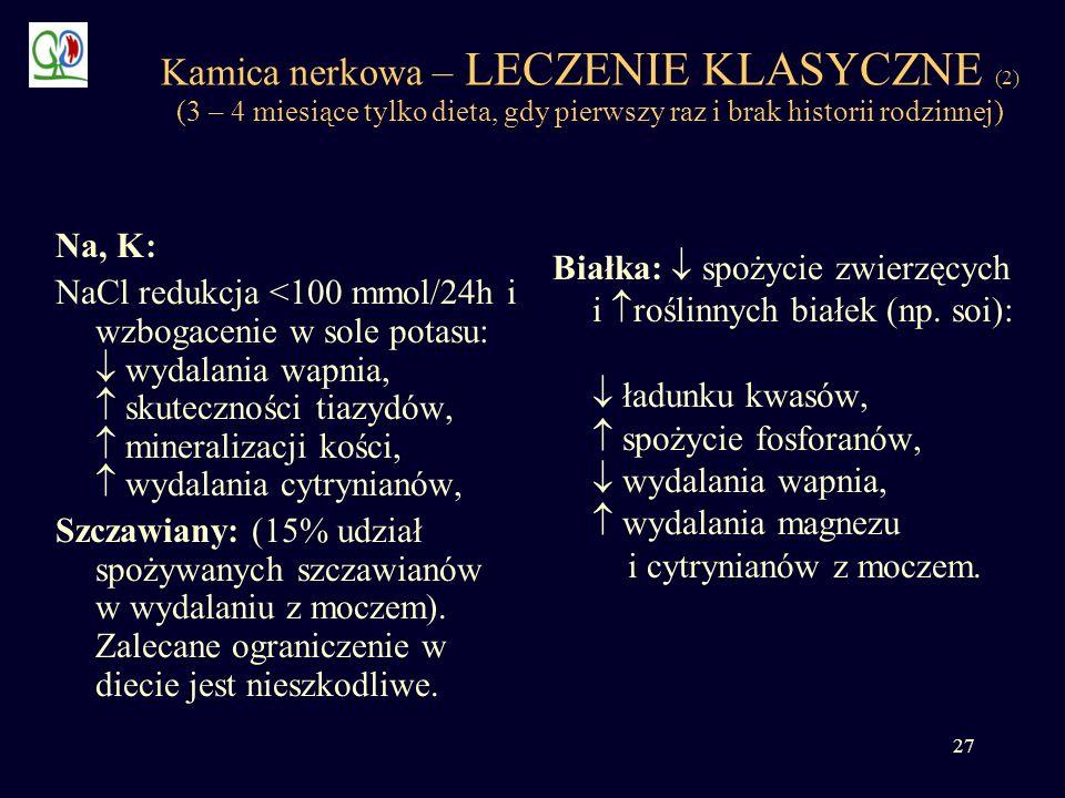 Kamica nerkowa – LECZENIE KLASYCZNE (2) (3 – 4 miesiące tylko dieta, gdy pierwszy raz i brak historii rodzinnej)